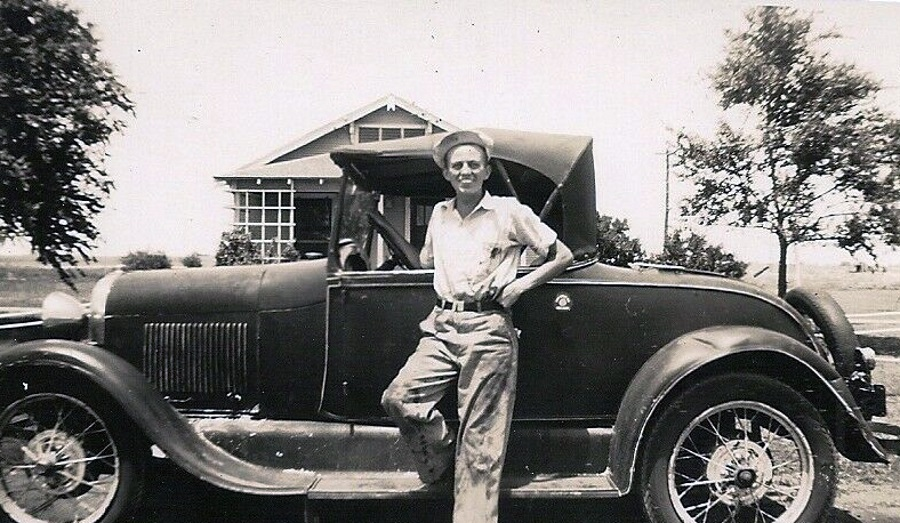 Proud Owner with Car in Pampa in 1937