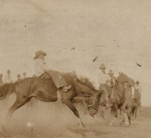 Bareback Contest in Dalhart Texas Rodeo c1800's