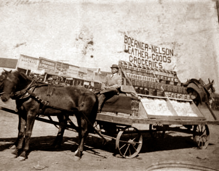 Boerner-Nelson's Mobile store ready to deliver leather goods and groceries  in 1907.