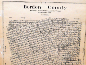 Old Borden County Texas General Land Office Owner Map Gail Mesquite Railroads