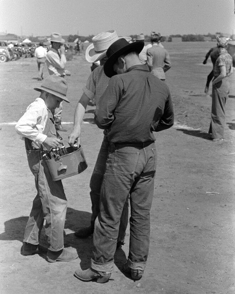 Boy Sells Soda Pop at Polo Match in 1939 Abilene