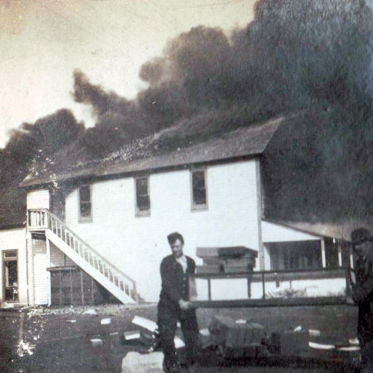 Building on Fire in Brownfield Texas  in 1920