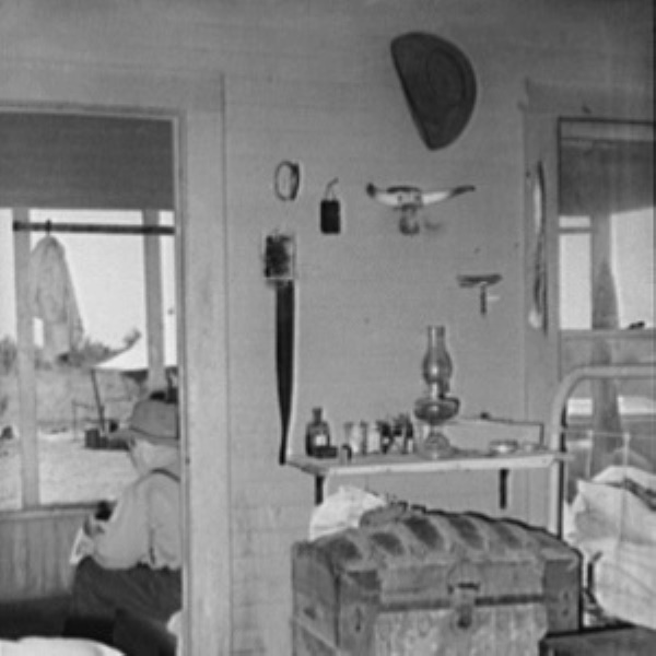 Interior shot of bunkhouse on the SMS ranch shows everything a cowboy needed in 1939