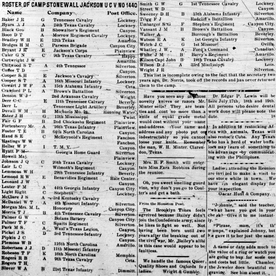 Roster of Camp Stonewall Jackson Veterans 1902