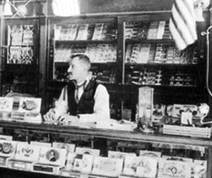Flag Draped 1924 El Paso Cigar Store  Features Omar and Murad Cigarettes