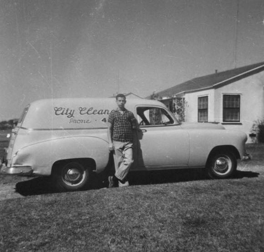 City Cleaners Delivery Truck in Brownfield in 1950