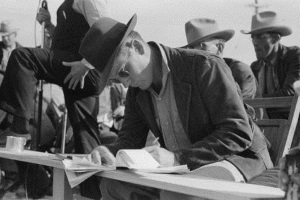 Clerk at horse auction, Eldorado, Tx 1939