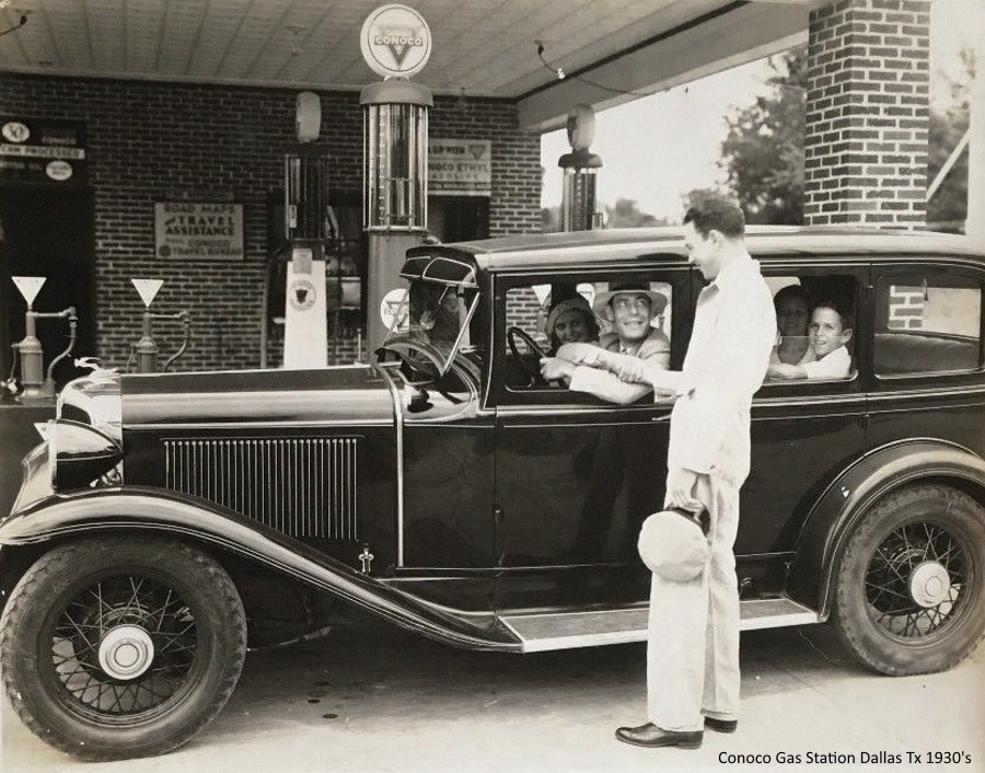 Conoco Gas Station Dallas Tx 1930's
