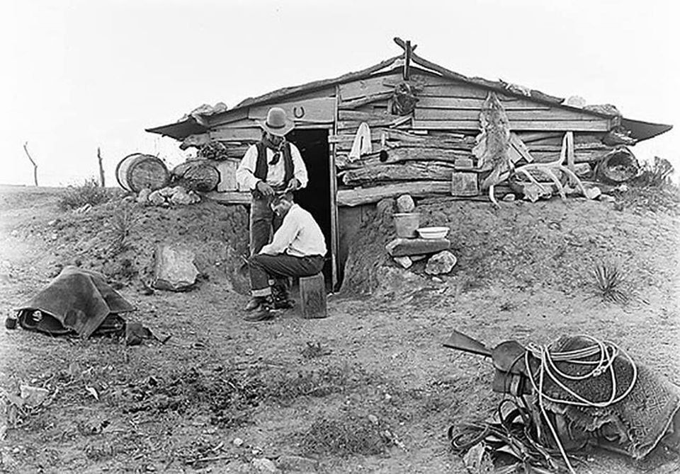 Cowboy Gets a Haircut on the Matador Ranch in 1908