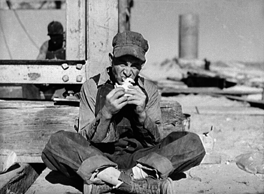 Derrick Builder at Lunch in 1942 in Andrews Texas