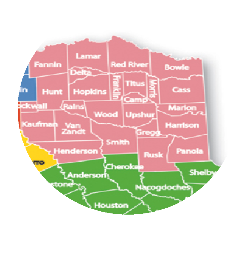 East Texas Counties Covered by Surrie Fenlaw