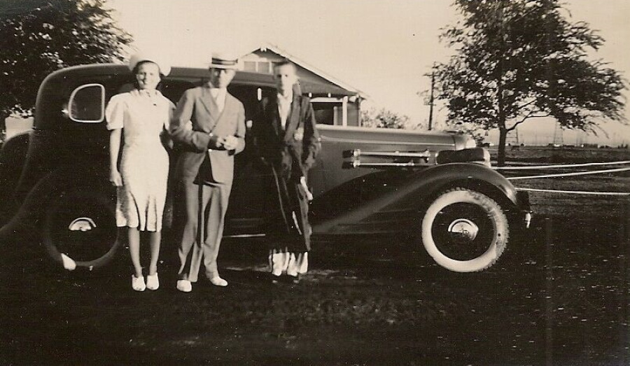 Family with Luxury Car in 1938 Pampa Texas