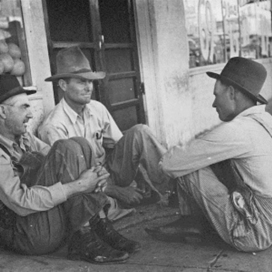Farmers Relax outside Store in Spur Texas in 1939