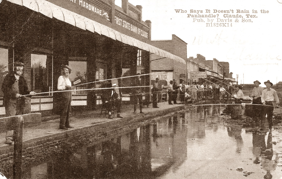Fishing Main Street in Claude Texas in 1910