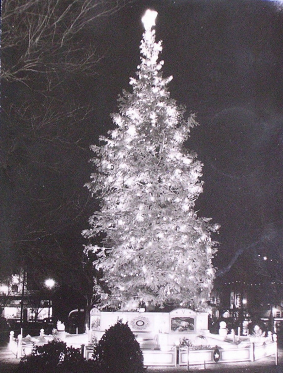 Lighted Christmas tree in El Paso 1945