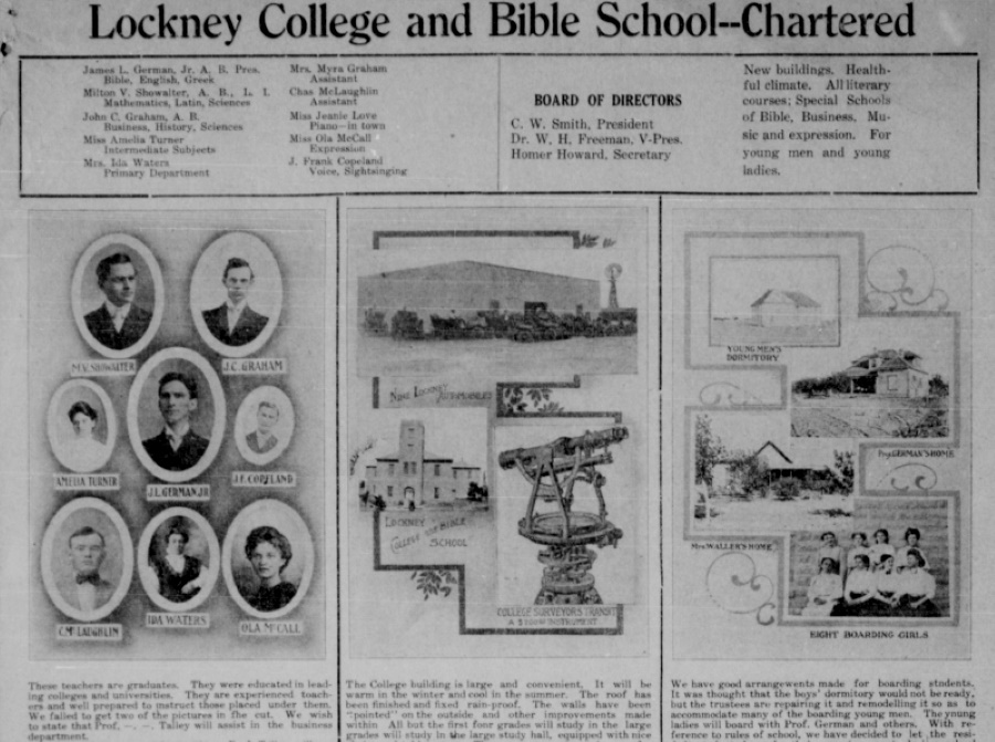 Lockney College and Bible School in 1909