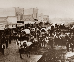 Main Street and Stores in Midland, Texas in 1890