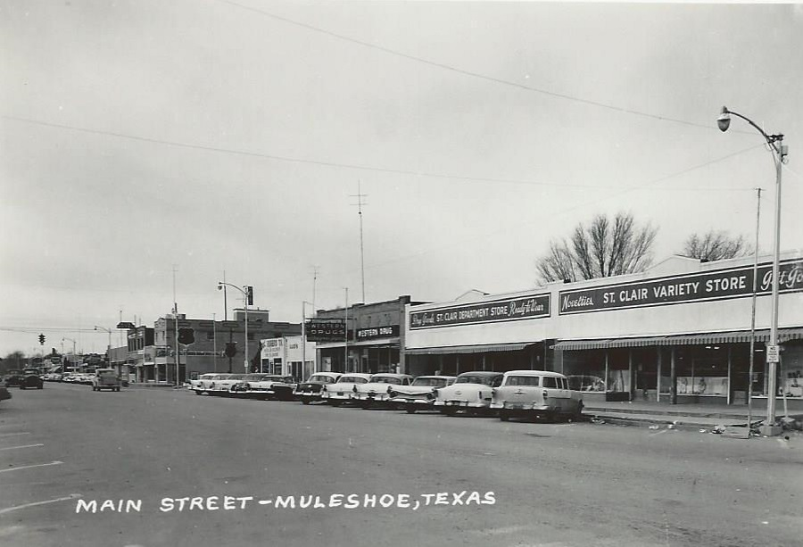 Main Street Muleshoe Texas in 1950s