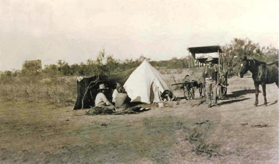 Family Makes Camp Outside Matador Texas  in 1890's