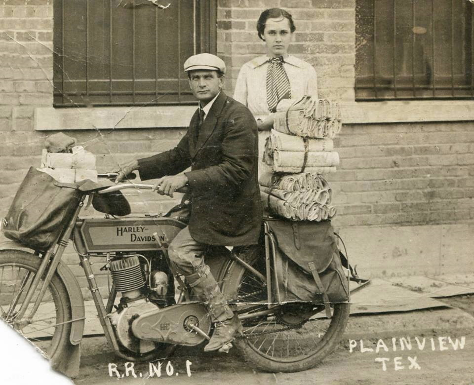 Mail Carriers Deliver Mail on Harley Davidson in 1915