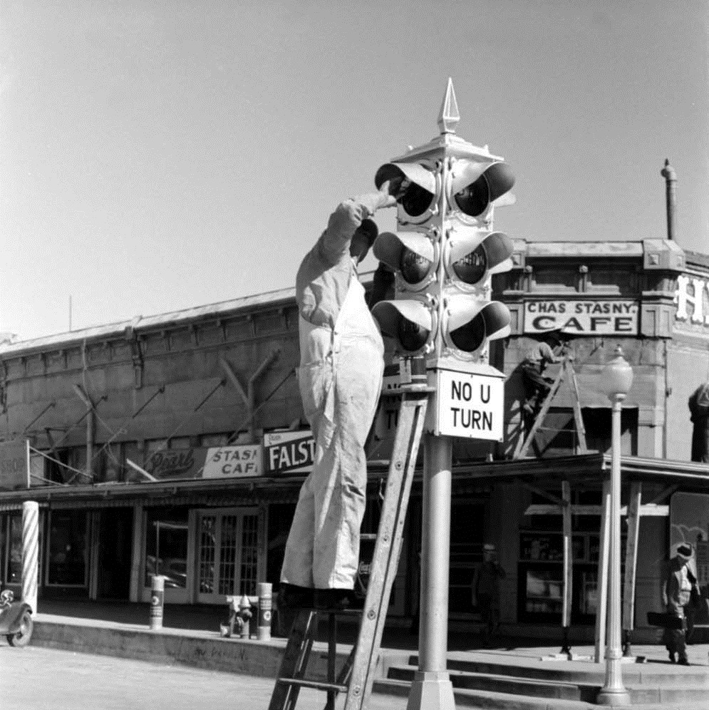 Painting Traffic Light in Taylor Texas in 1939