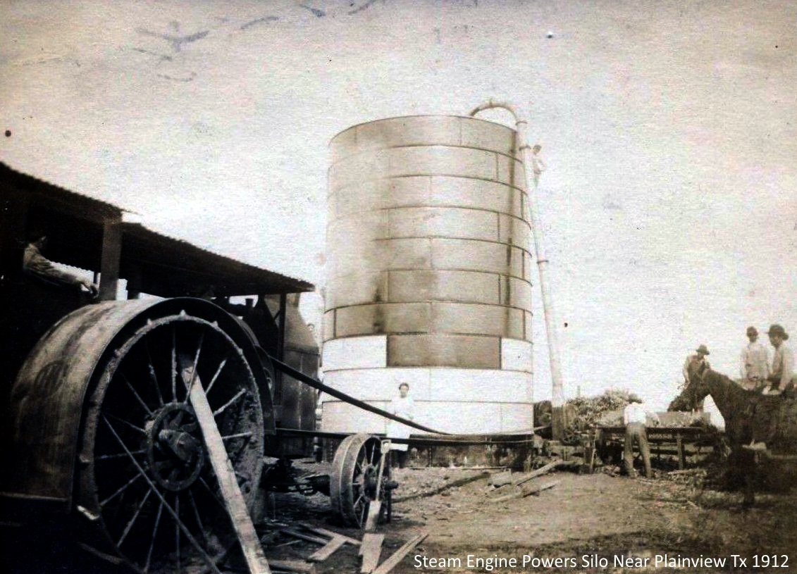 Steam Engine Powers Silo Near Plainview Texas in 1912