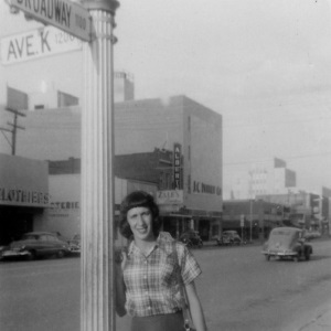 Woman at Corner of Broadway and K in Lubbock in 1950's