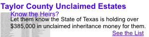 Taylor County Texas Unclaimed Estates