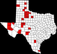 Map of Least Populated Counties in Texas