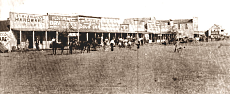 West side of square in Floyd City Texas (Floydada) 1890s