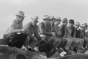 Horesmen sitting on fence Eldorado, Tx 1939